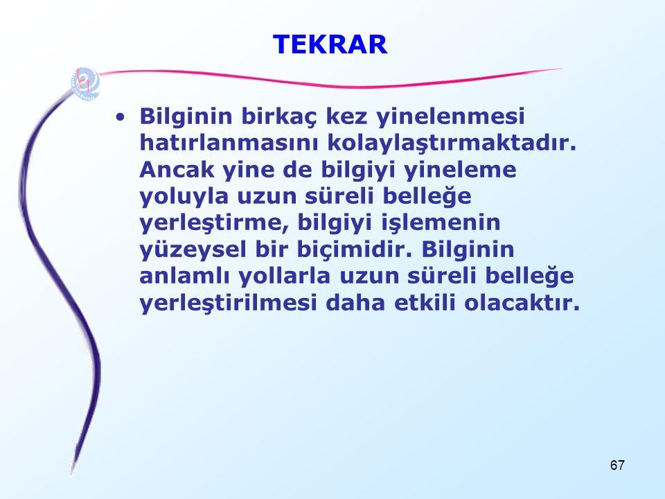 67 TEKRAR •Bilginin birkaç kez yinelenmesi hatırlanmasını kolaylaştırmaktadır. Ancak yine de bilgiyi yineleme yoluyla uzun süreli belleğe yerleştirme,