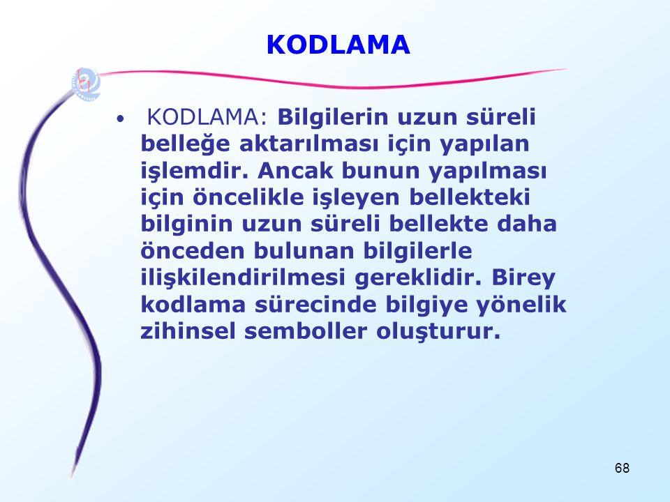 68 KODLAMA • KODLAMA: Bilgilerin uzun süreli belleğe aktarılması için yapılan işlemdir. Ancak bunun yapılması için öncelikle işleyen bellekteki bilgin