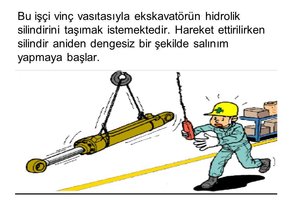 Bu işçi vinç vasıtasıyla ekskavatörün hidrolik silindirini taşımak istemektedir. Hareket ettirilirken silindir aniden dengesiz bir şekilde salınım yap