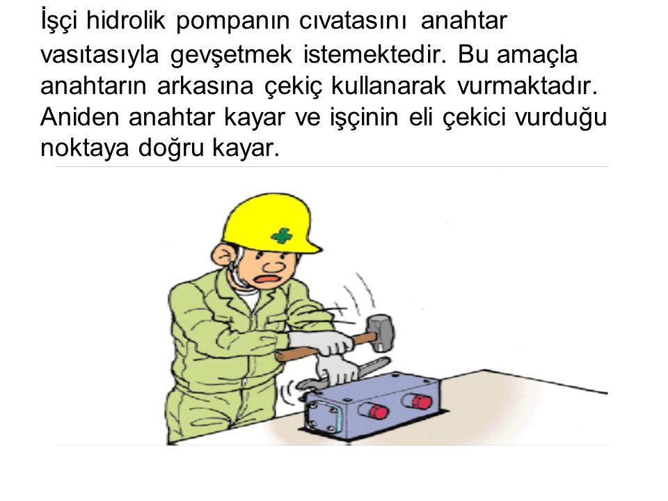 İşçi hidrolik pompanın cıvatasını anahtar vasıtasıyla gevşetmek istemektedir. Bu amaçla anahtarın arkasına çekiç kullanarak vurmaktadır. Aniden anahta