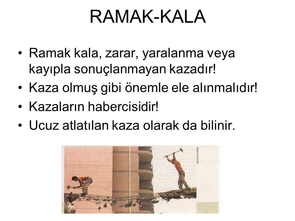 RAMAK-KALA •Ramak kala, zarar, yaralanma veya kayıpla sonuçlanmayan kazadır! •Kaza olmuş gibi önemle ele alınmalıdır! •Kazaların habercisidir! •Ucuz a