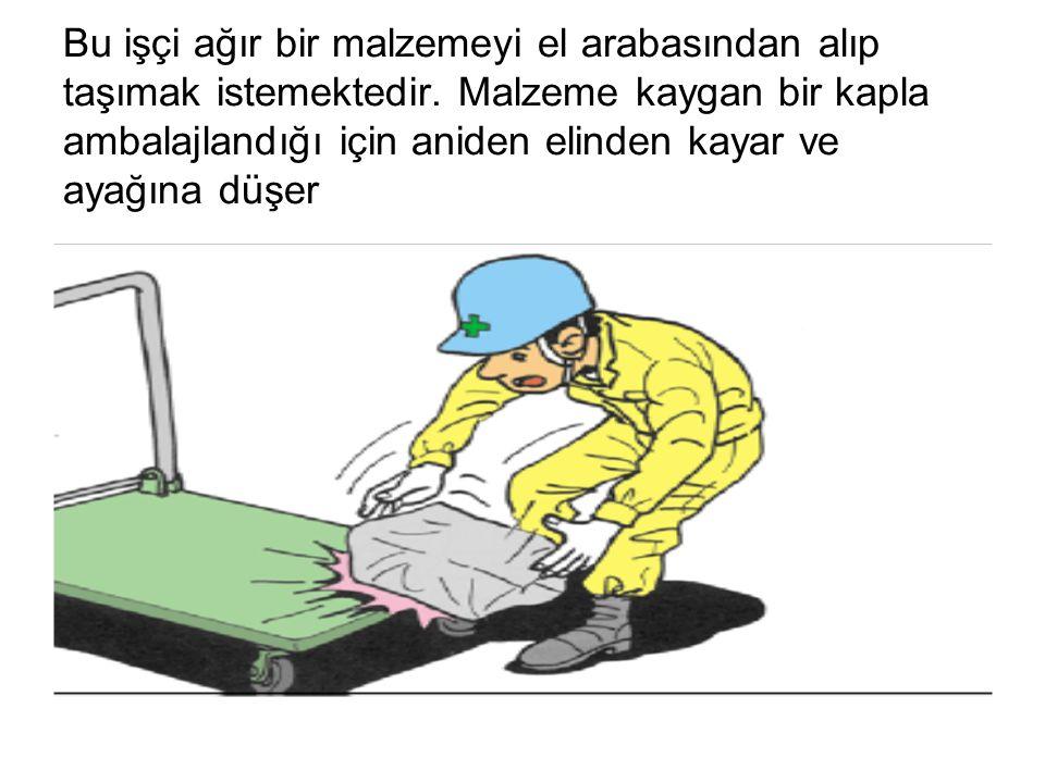 Bu işçi ağır bir malzemeyi el arabasından alıp taşımak istemektedir. Malzeme kaygan bir kapla ambalajlandığı için aniden elinden kayar ve ayağına düşe