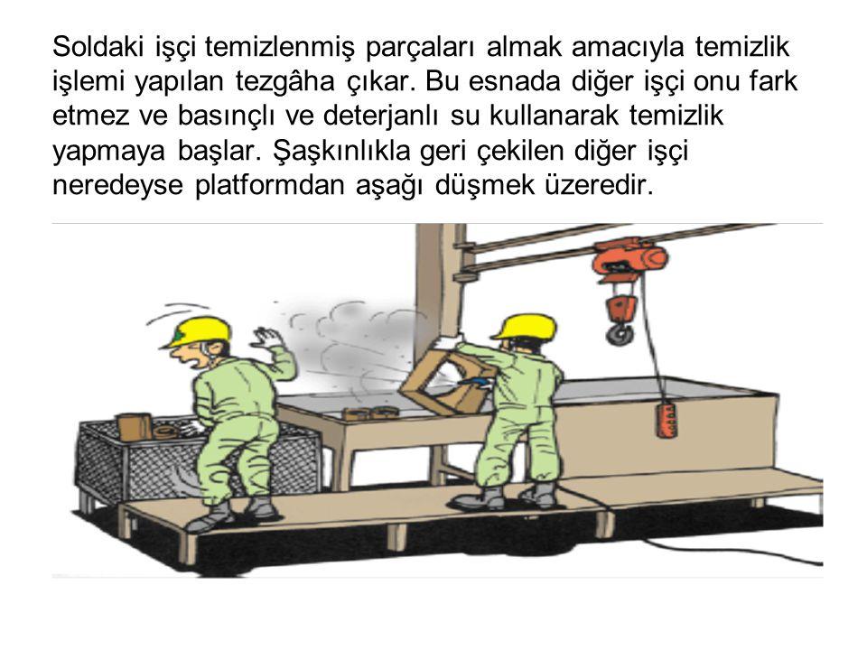 Soldaki işçi temizlenmiş parçaları almak amacıyla temizlik işlemi yapılan tezgâha çıkar. Bu esnada diğer işçi onu fark etmez ve basınçlı ve deterjanlı