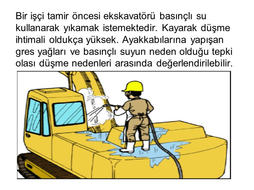 Bir işçi tamir öncesi ekskavatörü basınçlı su kullanarak yıkamak istemektedir. Kayarak düşme ihtimali oldukça yüksek. Ayakkabılarına yapışan gres yağl