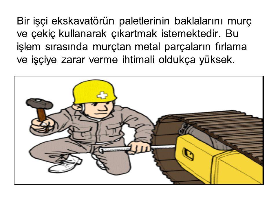 Bir işçi ekskavatörün paletlerinin baklalarını murç ve çekiç kullanarak çıkartmak istemektedir. Bu işlem sırasında murçtan metal parçaların fırlama ve