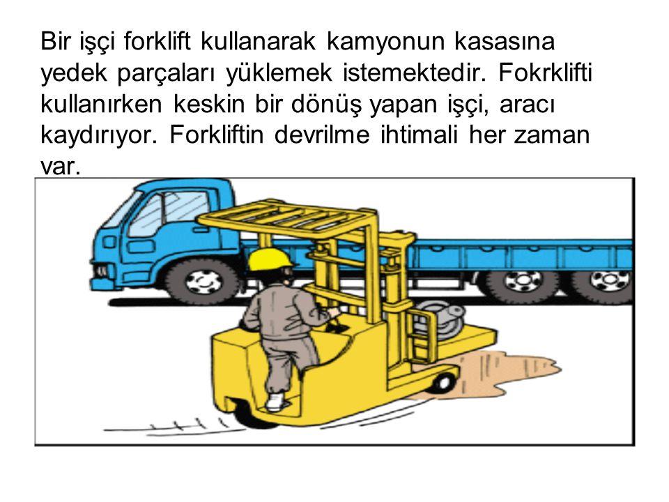 Bir işçi forklift kullanarak kamyonun kasasına yedek parçaları yüklemek istemektedir. Fokrklifti kullanırken keskin bir dönüş yapan işçi, aracı kaydır