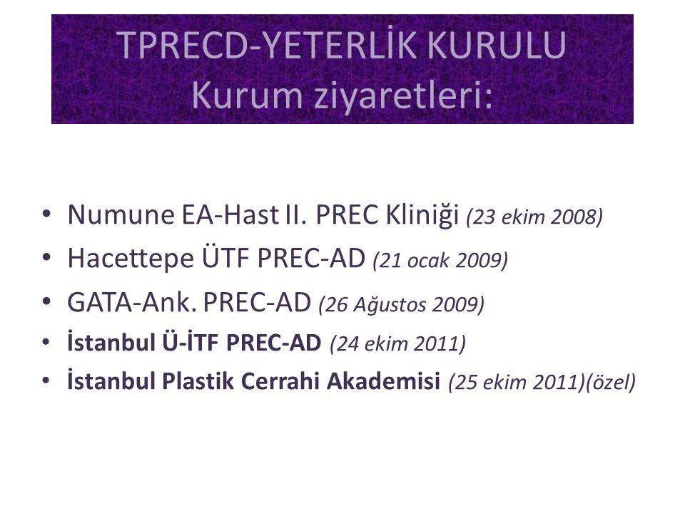• Numune EA-Hast II. PREC Kliniği (23 ekim 2008) • Hacettepe ÜTF PREC-AD (21 ocak 2009) • GATA-Ank. PREC-AD (26 Ağustos 2009) • İstanbul Ü-İTF PREC-AD