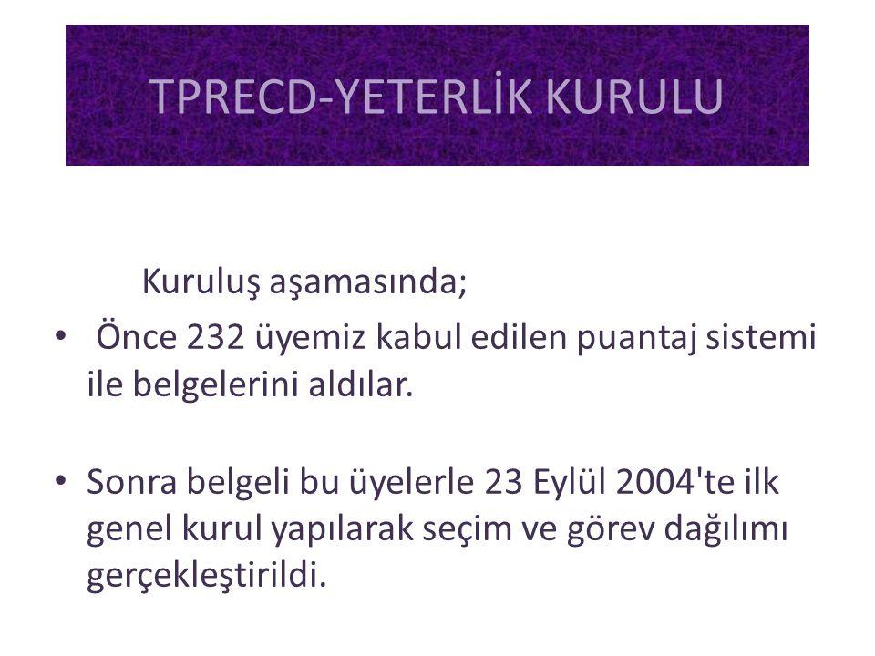 Kuruluş aşamasında; • Önce 232 üyemiz kabul edilen puantaj sistemi ile belgelerini aldılar. • Sonra belgeli bu üyelerle 23 Eylül 2004'te ilk genel kur