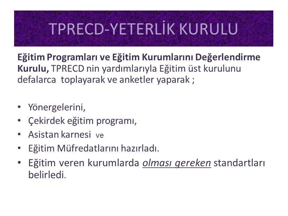 Eğitim Programları ve Eğitim Kurumlarını Değerlendirme Kurulu, TPRECD nin yardımlarıyla Eğitim üst kurulunu defalarca toplayarak ve anketler yaparak ;