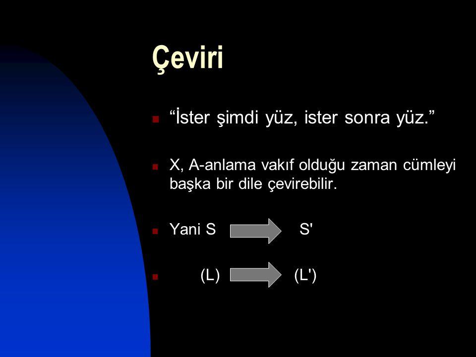 "Çeviri  ""İster şimdi yüz, ister sonra yüz.""  X, A-anlama vakıf olduğu zaman cümleyi başka bir dile çevirebilir.  Yani S S'  (L) (L')"