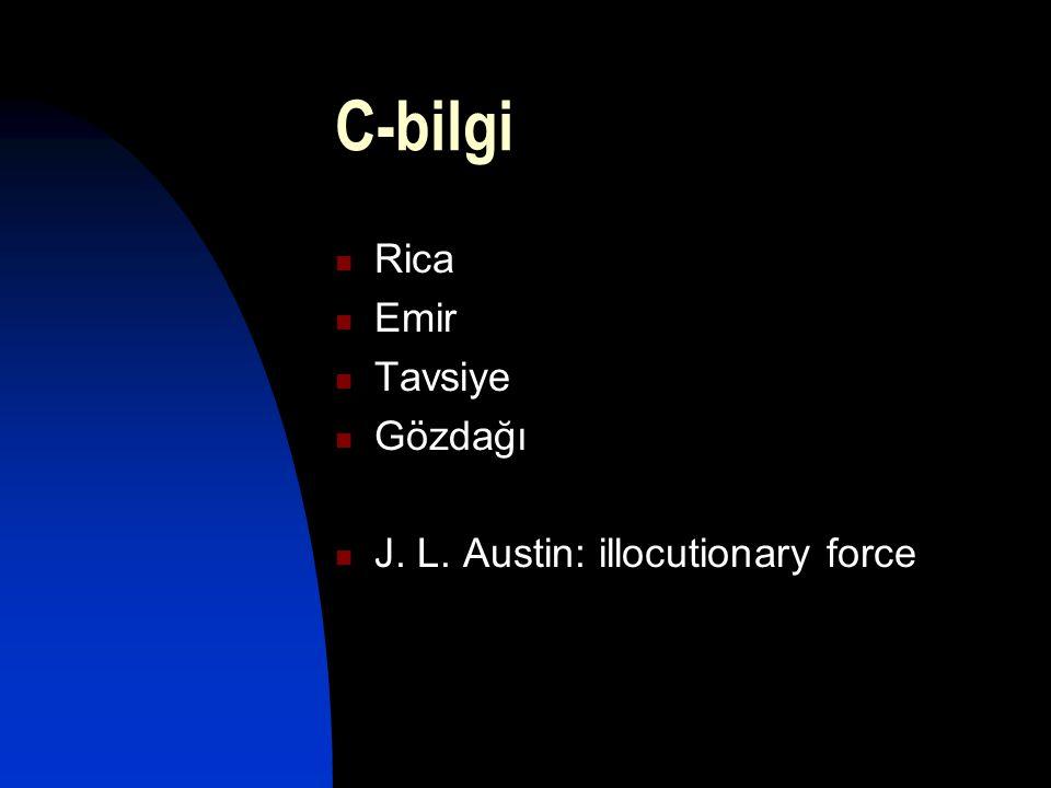 C-bilgi  Rica  Emir  Tavsiye  Gözdağı  J. L. Austin: illocutionary force