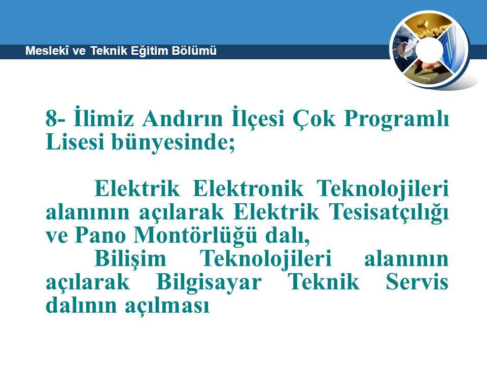 Meslekî ve Teknik Eğitim Bölümü 8- İlimiz Andırın İlçesi Çok Programlı Lisesi bünyesinde; Elektrik Elektronik Teknolojileri alanının açılarak Elektrik