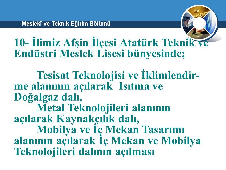 Meslekî ve Teknik Eğitim Bölümü 10- İlimiz Afşin İlçesi Atatürk Teknik ve Endüstri Meslek Lisesi bünyesinde; Tesisat Teknolojisi ve İklimlendir- me al