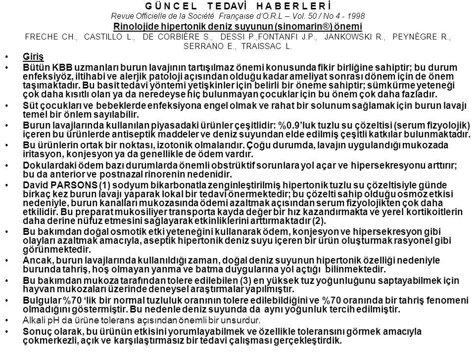 G Ü N C E L T E DAVİ H A B E R L E R İ Revue Officielle de la Socıété Françaıse d'O.R.L – Vol. 50 / No 4 - 1998 Rinolojide hipertonik deniz suyunun (s