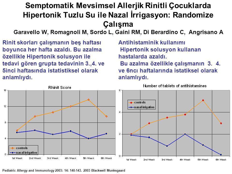Semptomatik Mevsimsel Allerjik Rinitli Çocuklarda Hipertonik Tuzlu Su ile Nazal İrrigasyon: Randomize Çalışma Garavello W, Romagnoli M, Sordo L, Gaini