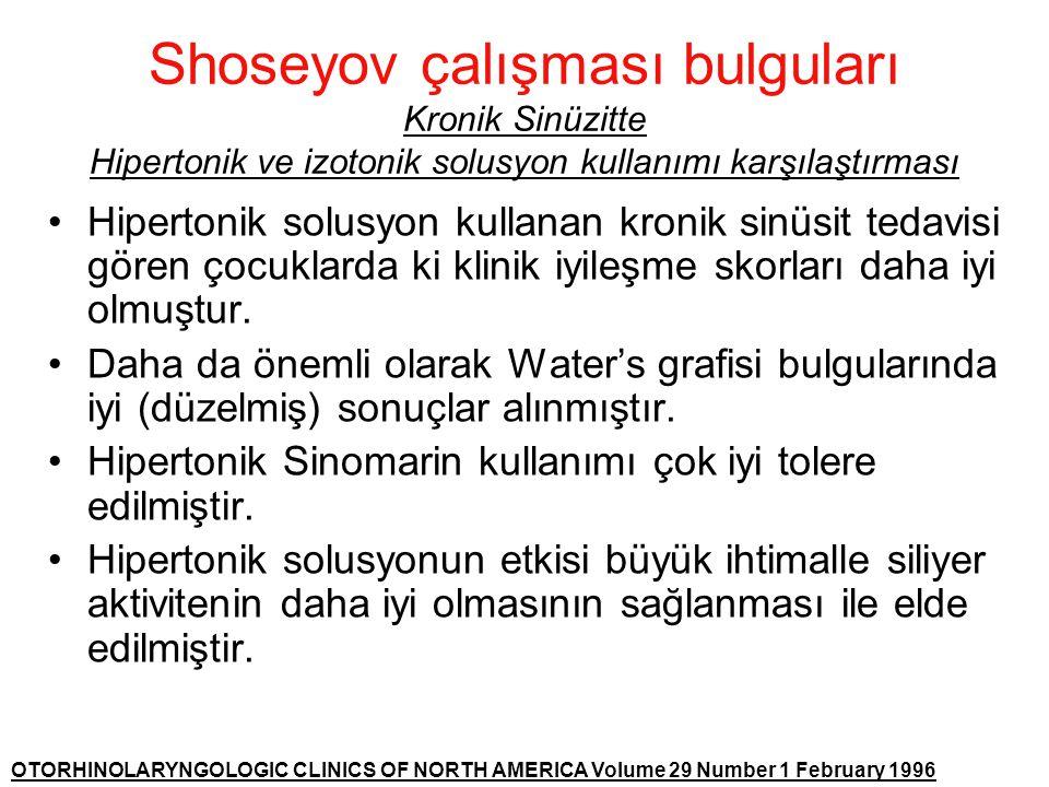Shoseyov çalışması bulguları Kronik Sinüzitte Hipertonik ve izotonik solusyon kullanımı karşılaştırması •Hipertonik solusyon kullanan kronik sinüsit t