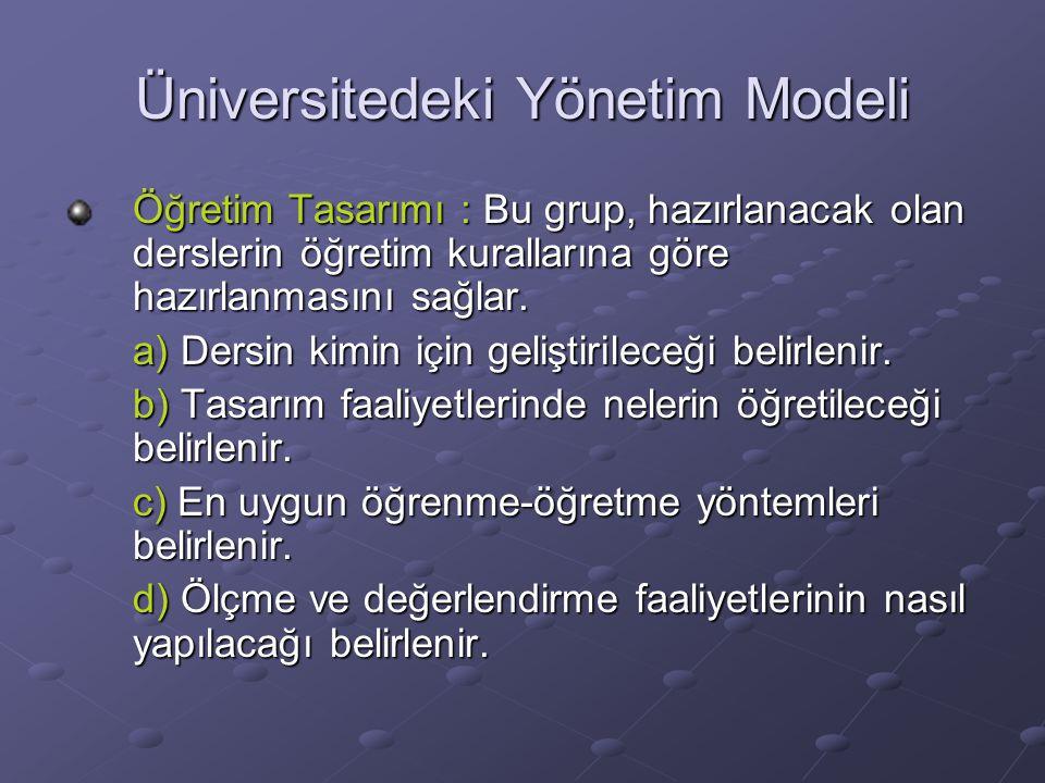 Üniversitedeki Yönetim Modeli Öğretim Tasarımı : Bu grup, hazırlanacak olan derslerin öğretim kurallarına göre hazırlanmasını sağlar.