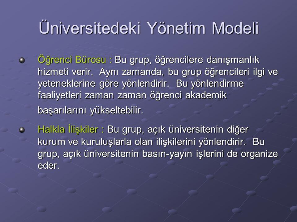 Üniversitedeki Yönetim Modeli Öğrenci Bürosu : Bu grup, öğrencilere danışmanlık hizmeti verir.