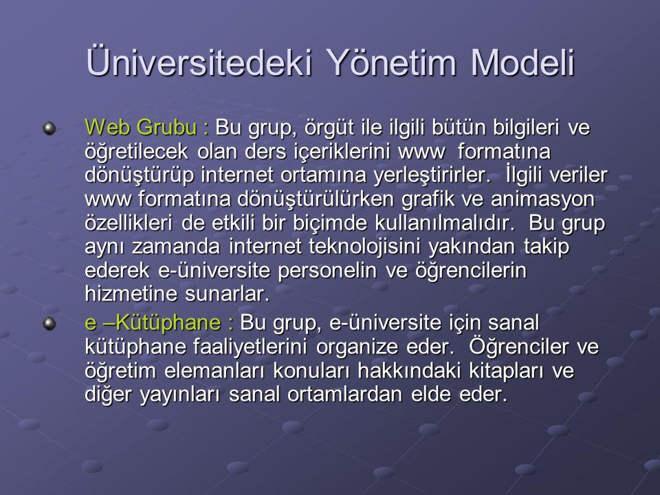 Web Grubu : Bu grup, örgüt ile ilgili bütün bilgileri ve öğretilecek olan ders içeriklerini www formatına dönüştürüp internet ortamına yerleştirirler.