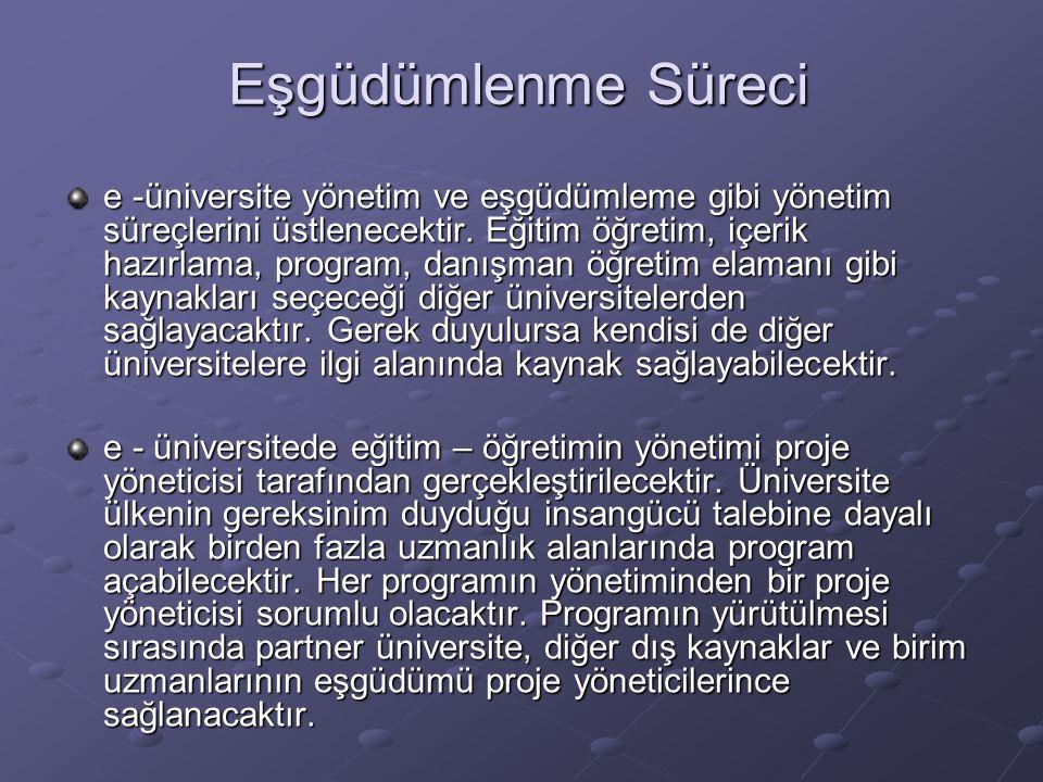 Eşgüdümlenme Süreci e -üniversite yönetim ve eşgüdümleme gibi yönetim süreçlerini üstlenecektir.