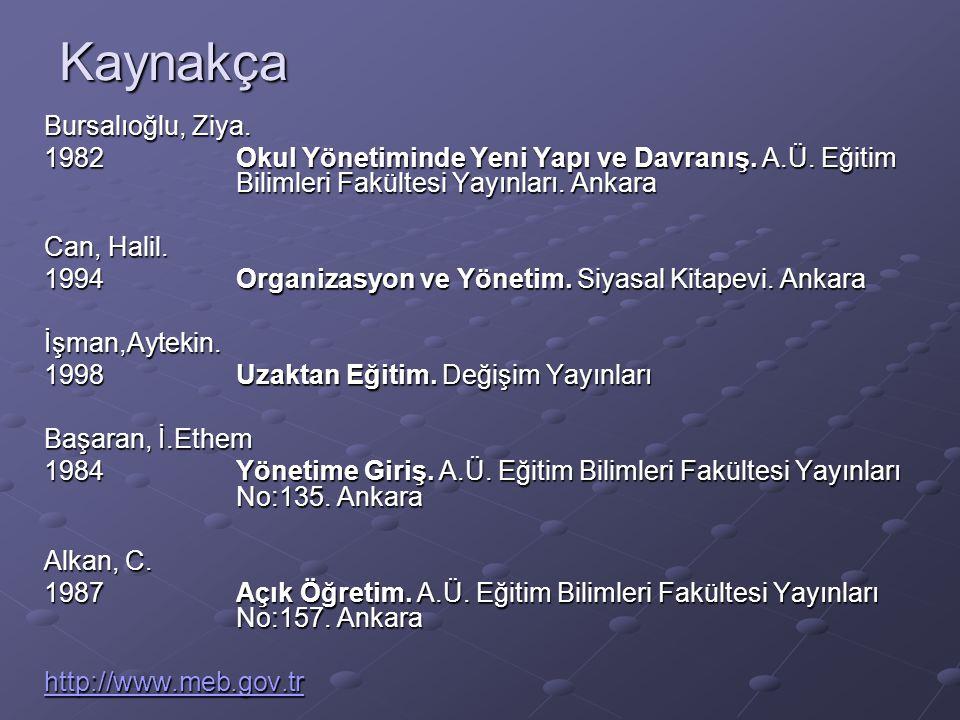 Kaynakça Bursalıoğlu, Ziya.1982Okul Yönetiminde Yeni Yapı ve Davranış.