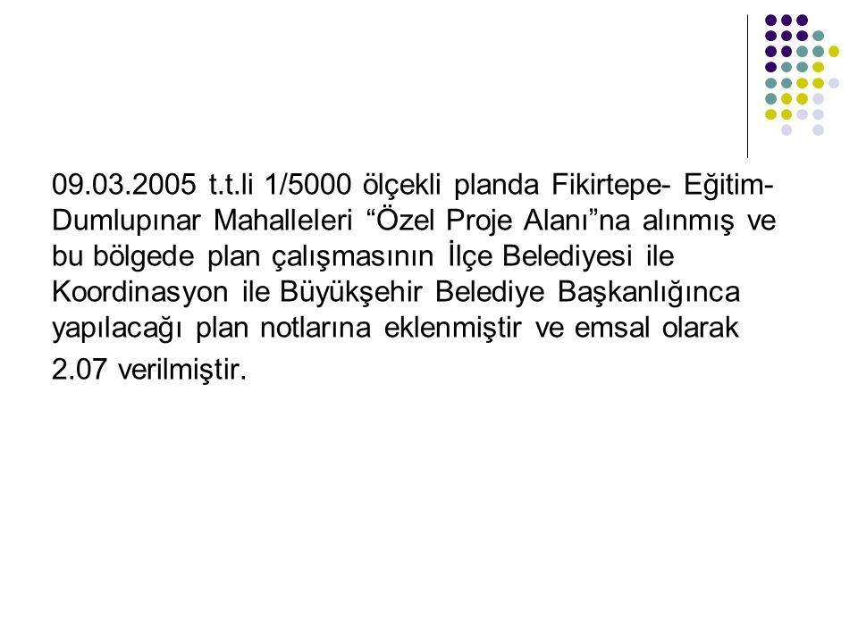 """09.03.2005 t.t.li 1/5000 ölçekli planda Fikirtepe- Eğitim- Dumlupınar Mahalleleri """"Özel Proje Alanı""""na alınmış ve bu bölgede plan çalışmasının İlçe Be"""