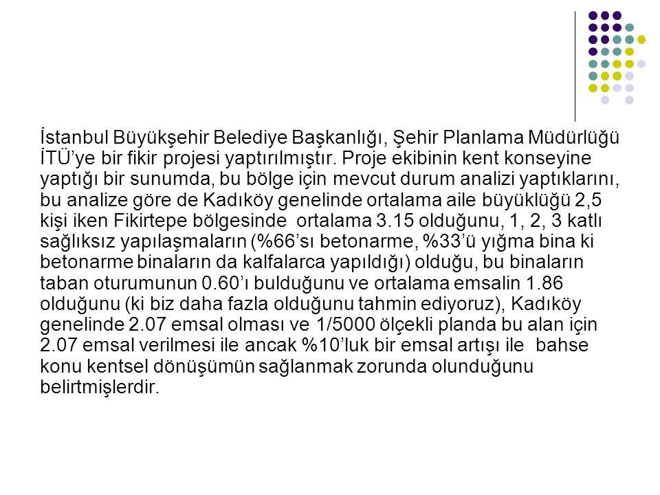 İstanbul Büyükşehir Belediye Başkanlığı, Şehir Planlama Müdürlüğü İTÜ'ye bir fikir projesi yaptırılmıştır. Proje ekibinin kent konseyine yaptığı bir s