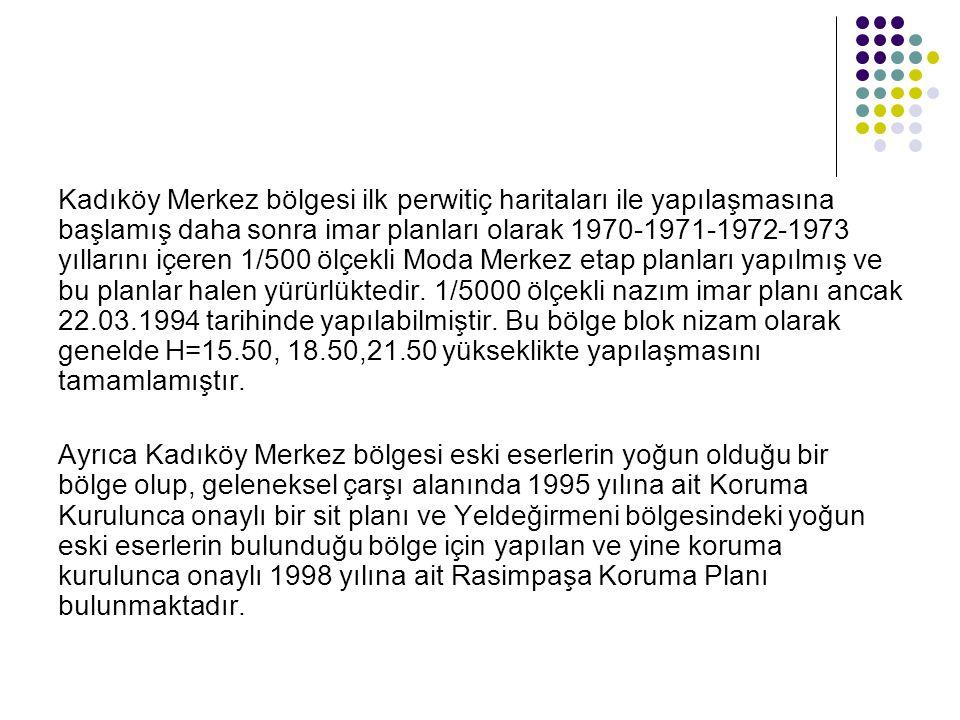 Kadıköy Merkez bölgesi ilk perwitiç haritaları ile yapılaşmasına başlamış daha sonra imar planları olarak 1970-1971-1972-1973 yıllarını içeren 1/500 ö