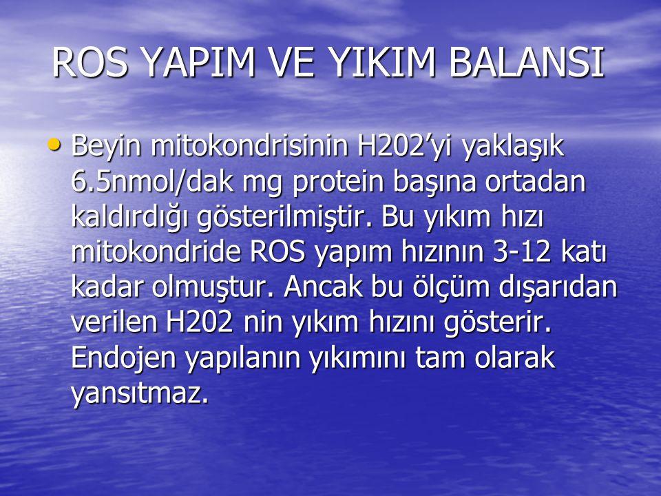 ROS YAPIM VE YIKIM BALANSI • Beyin mitokondrisinin H202'yi yaklaşık 6.5nmol/dak mg protein başına ortadan kaldırdığı gösterilmiştir. Bu yıkım hızı mit