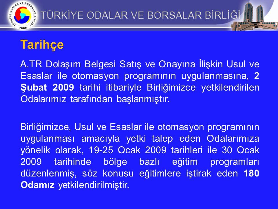Tarihçe A.TR Dolaşım Belgesi Satış ve Onayına İlişkin Usul ve Esaslar ile otomasyon programının uygulanmasına, 2 Şubat 2009 tarihi itibariyle Birliğim