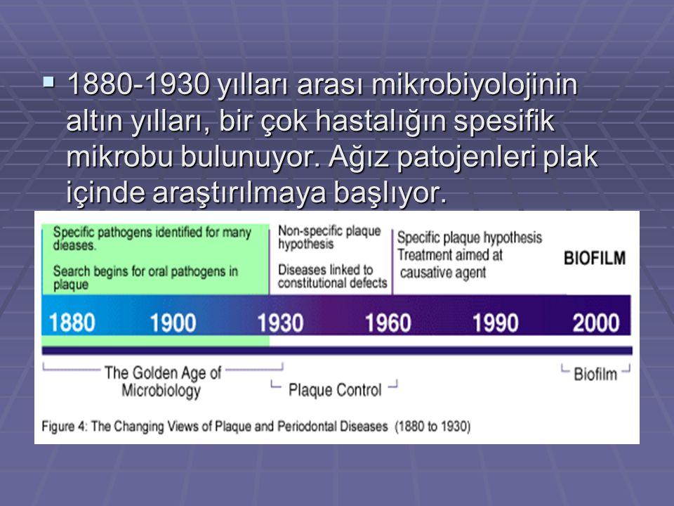  1880-1930 yılları arası mikrobiyolojinin altın yılları, bir çok hastalığın spesifik mikrobu bulunuyor.