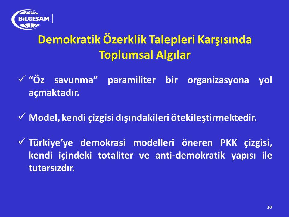 """ """"Öz savunma"""" paramiliter bir organizasyona yol açmaktadır.  Model, kendi çizgisi dışındakileri ötekileştirmektedir.  Türkiye'ye demokrasi modeller"""