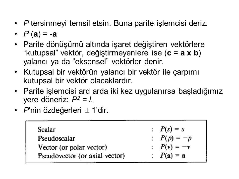 •P tersinmeyi temsil etsin.Buna parite işlemcisi deriz.