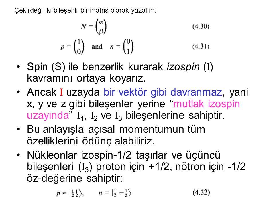 •Spin (S) ile benzerlik kurarak izospin ( I ) kavramını ortaya koyarız.