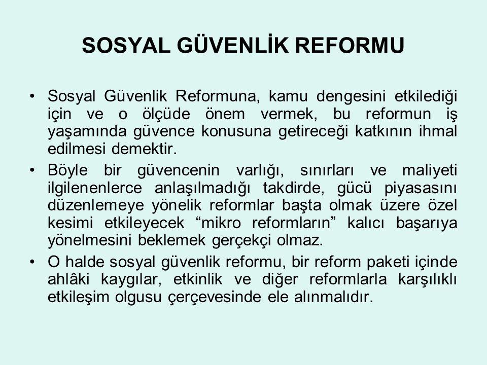 SOSYAL GÜVENLİK REFORMU •Sosyal Güvenlik Reformuna, kamu dengesini etkilediği için ve o ölçüde önem vermek, bu reformun iş yaşamında güvence konusuna