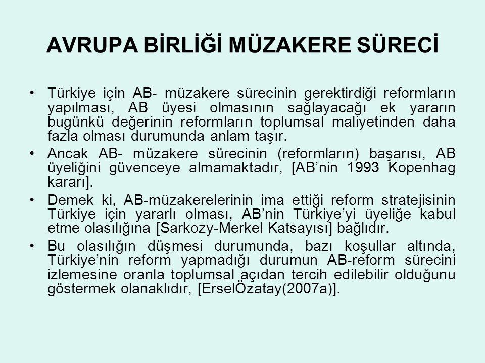 AVRUPA BİRLİĞİ MÜZAKERE SÜRECİ •Türkiye için AB- müzakere sürecinin gerektirdiği reformların yapılması, AB üyesi olmasının sağlayacağı ek yararın bugü