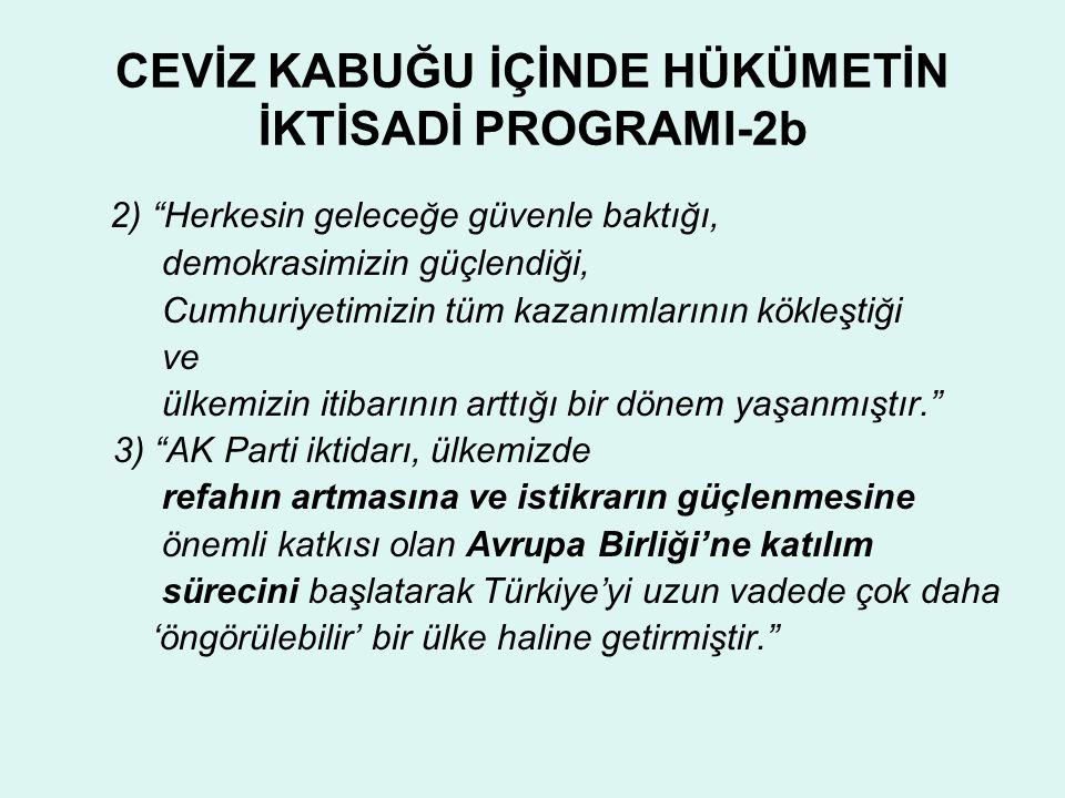 """CEVİZ KABUĞU İÇİNDE HÜKÜMETİN İKTİSADİ PROGRAMI-2b 2) """"Herkesin geleceğe güvenle baktığı, demokrasimizin güçlendiği, Cumhuriyetimizin tüm kazanımların"""