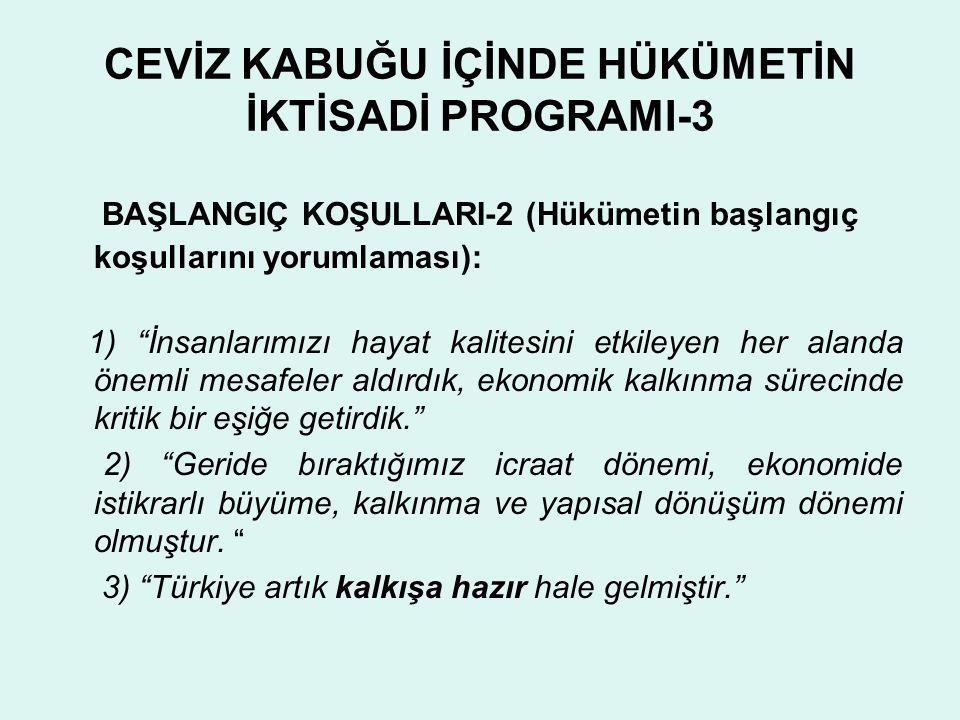CEVİZ KABUĞU İÇİNDE HÜKÜMETİN İKTİSADİ PROGRAMI-4 PROGRAMIN DİNAMİĞİ: 1) Açıklayacağım program, istikrar zemininde ilerleyen ekonomik ve sosyal gelişme sürecimizde bir sıçrama dönemi programıdır. 2) Bu bakımdan temel hedefimiz,Türkiye yi take-off'a, kalkış a geçirerek, daha güvenli bir hıza ve yüksekliğe taşımaktır. 3) Bu programda öngördüğümüz dönem sonu hedefleriyle Türkiye yi bu kritik eşikten geçirmeyi başaracağımıza inanıyorum.
