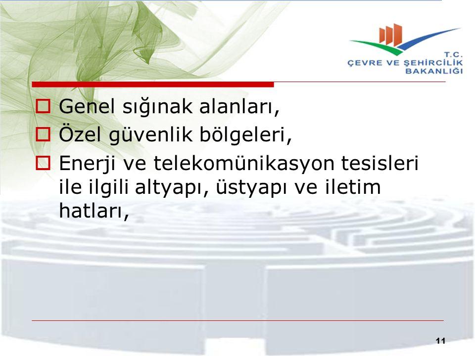  Genel sığınak alanları,  Özel güvenlik bölgeleri,  Enerji ve telekomünikasyon tesisleri ile ilgili altyapı, üstyapı ve iletim hatları, 11