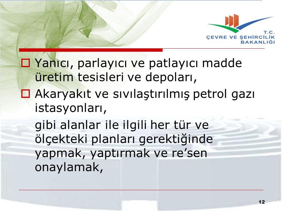  Yanıcı, parlayıcı ve patlayıcı madde üretim tesisleri ve depoları,  Akaryakıt ve sıvılaştırılmış petrol gazı istasyonları, gibi alanlar ile ilgili