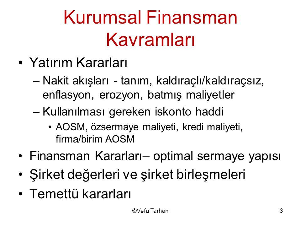 Kurumsal Finansman Kavramları •Yatırım Kararları –Nakit akışları - tanım, kaldıraçlı/kaldıraçsız, enflasyon, erozyon, batmış maliyetler –Kullanılması