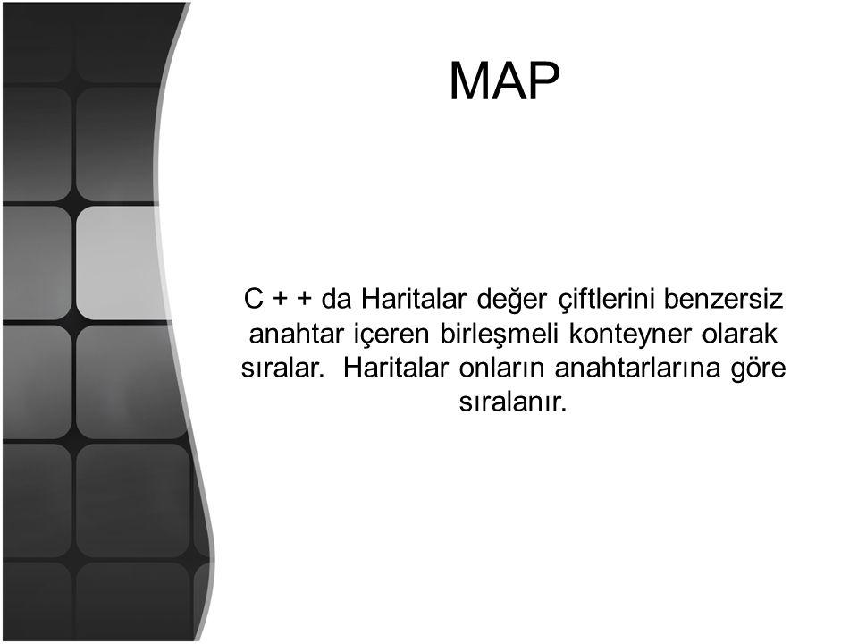 MAP C + + da Haritalar değer çiftlerini benzersiz anahtar içeren birleşmeli konteyner olarak sıralar. Haritalar onların anahtarlarına göre sıralanır.