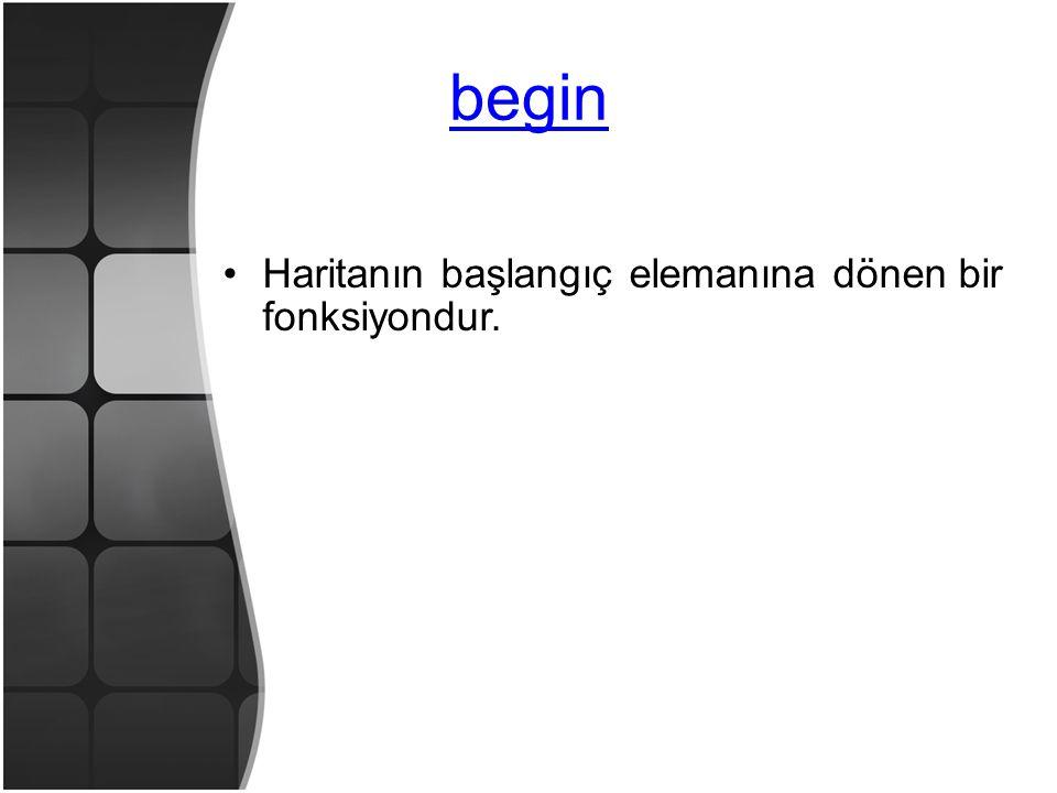 begin •Haritanın başlangıç elemanına dönen bir fonksiyondur.