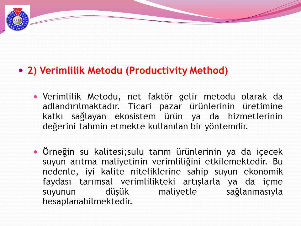  2) Verimlilik Metodu (Productivity Method)  Verimlilik Metodu, net faktör gelir metodu olarak da adlandırılmaktadır. Ticari pazar ürünlerinin üreti