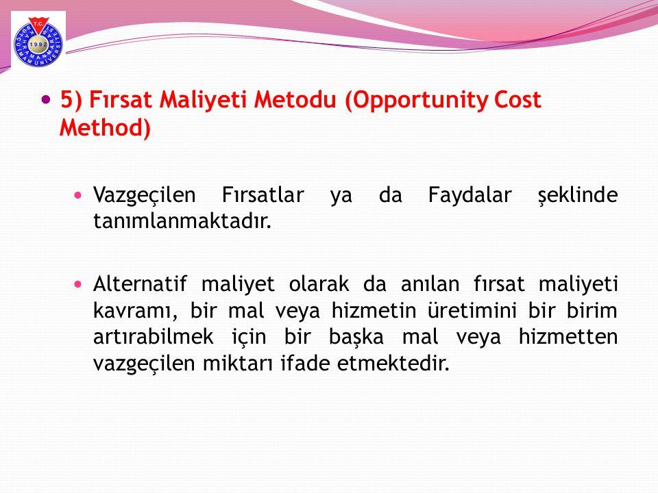  5) Fırsat Maliyeti Metodu (Opportunity Cost Method)  Vazgeçilen Fırsatlar ya da Faydalar şeklinde tanımlanmaktadır.  Alternatif maliyet olarak da