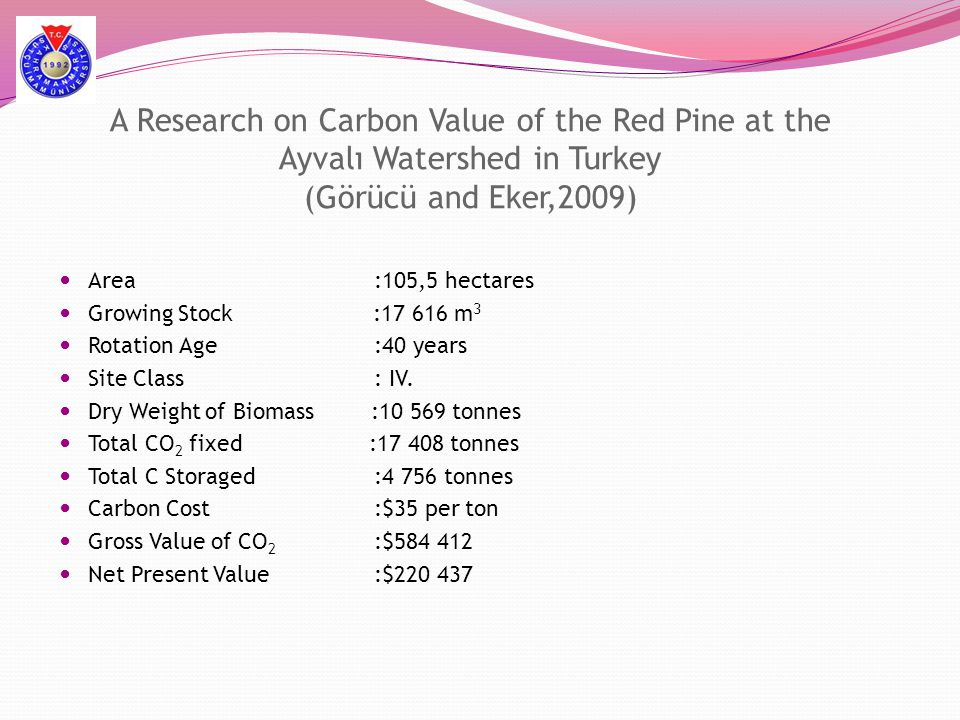A Research on Carbon Value of the Red Pine at the Ayvalı Watershed in Turkey (Görücü and Eker,2009)  Area :105,5 hectares  Growing Stock :17 616 m 3