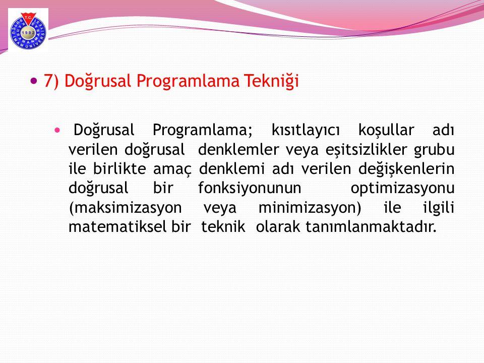  7) Doğrusal Programlama Tekniği  Doğrusal Programlama; kısıtlayıcı koşullar adı verilen doğrusal denklemler veya eşitsizlikler grubu ile birlikte a