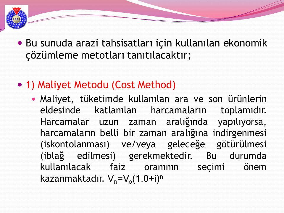  Bu sunuda arazi tahsisatları için kullanılan ekonomik çözümleme metotları tanıtılacaktır;  1) Maliyet Metodu (Cost Method)  Maliyet, tüketimde kul