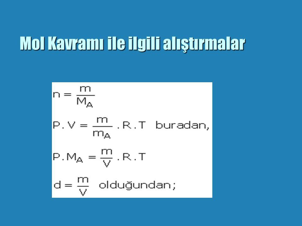 GERÇEK ATOM KÜTLESİ b Mol Kütlesi:mol kütlesi/avagadro sayısı b ÖRNEK:Bir karbon atomunun kütlesi=12/6,02.10(23)=2.10.(-23) gram