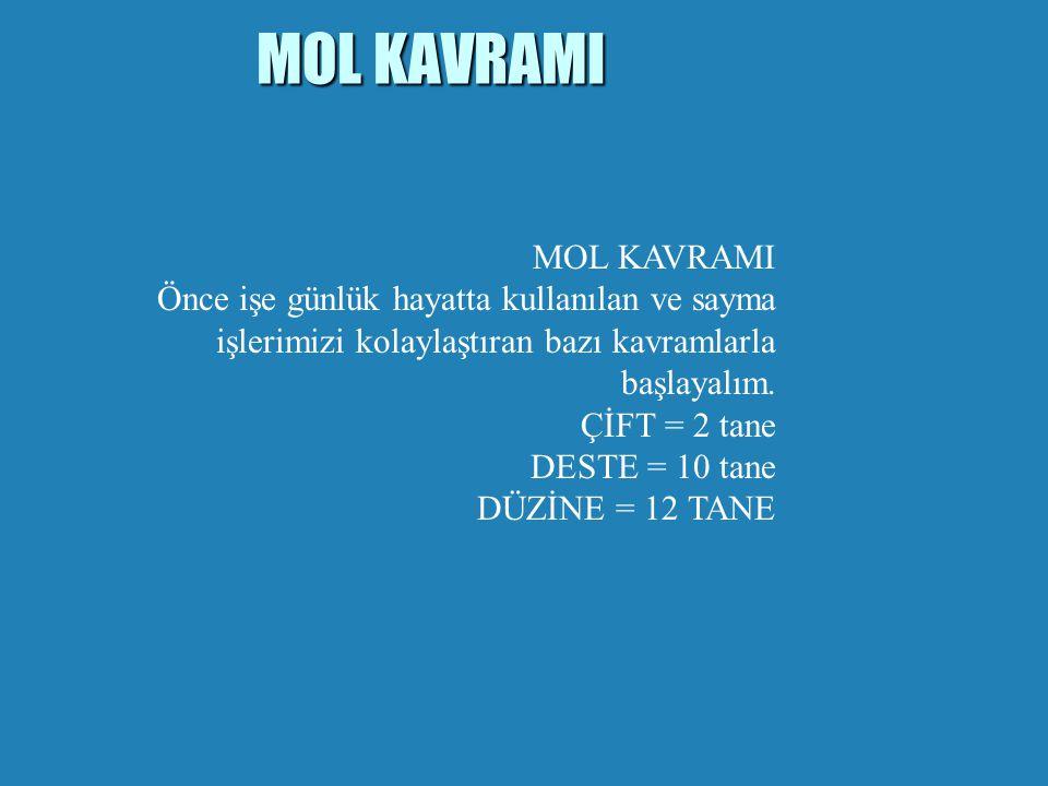 MOL KAVRAMI b Avagadro sayısı kadar Tanecik içeren madde 1 Mol'dür..  Mol Sayısı ' n ' harfi ile ifade edilir. b ''n'' Harfi molü ifade eder. b 1 mol